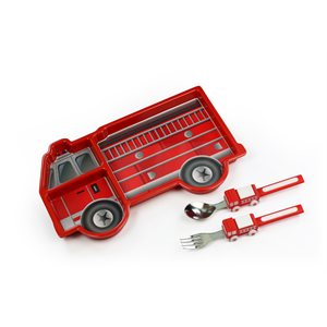 Service de table pour enfant voiture de pompier - Voiture pompier enfant ...
